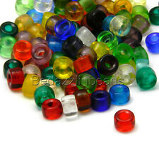 100 Assorted 9mm X 6mm  Czech Glass Crow Pony Barrel Shape Beads W/ Big 3mm Hole