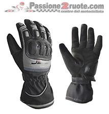 Guanti moto invernali Jollisport Titan nero grigio pelle tessuto impermeabile