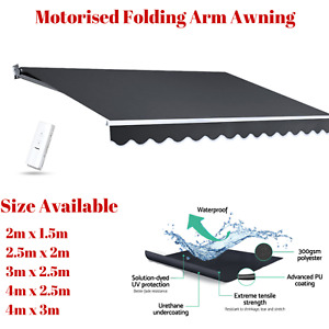 Electric Awning Motorised Folding Arm Blind Canopy Shade Cover Remote Hand Crank