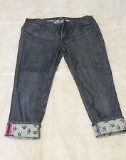7 FOR ALL MANKIND Skull Crossbones ROXANNE Dark MERCER Wash Crop Capri Jeans 30