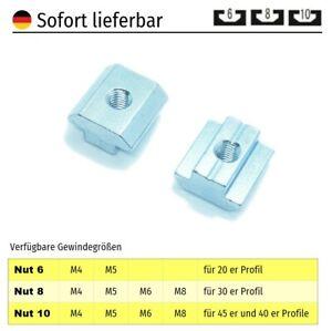 Nutensteine Aluprofil Nut 10 Nut 8 Nut 6 - M8 M6 M5 M4 Bosch Raster Stahl Zink