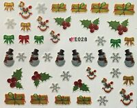 Christmas Nail Art Stickers Decals Snowflakes Holly Presents Snowman Silver E28