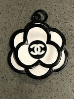 Chanel Camellia black white 29 mm Flat Button Flower STAMPED