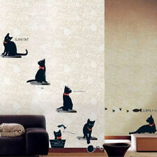 Black Cats Family Room Wall Sticker Paper Removable Mural Art Decal Home Decor