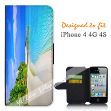 For Apple iPhone 4 4G 4S Wallet Flip Phone Case Cover Perfect Beach Y00996