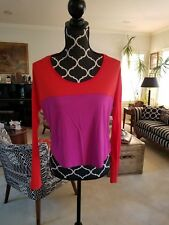 Esprit Women's Color Block Purple and Orange/Red Crop Top; long sleeves; Sz S