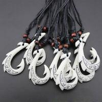Fish Hook Maori White Tribal Handmade Amulet Pendant Necklace DIY Jewelry