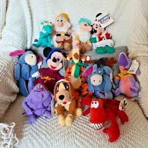 DISNEY STORE Mickey Minnie Tigger Eeyore Sebastian Beanie Babies Bean Bag LOT 12