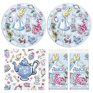 Alice In Wonderland Happy Birthday Dessert Party Pack and Table Cover -Serves 16