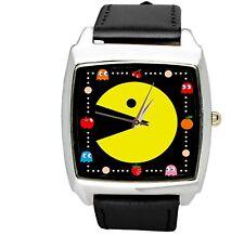 Pacman Pac Man Arcade Juego De Video Película De Cuero Negro Reloj De DVD cuadrado de acero de película