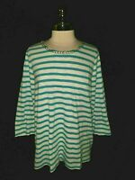 CHICO'S Size 3 16 18 XL Shirt Top Blue White Striped Beads 3/4th Sleeve