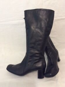 Tlc By Bhs Black Mid Calf Leather Boots Size 5