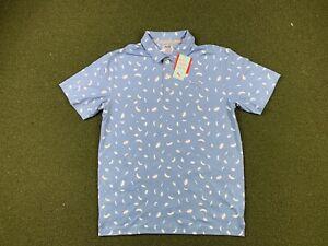 Puma Cloudspun Feathers Golf Polo Shirt Allure Blue White SZ M ( 531092 02 ) NWT