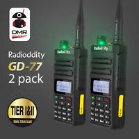 2Pcs Radioddity GD-77 Dual Band Tier2 DMR V/UHF Walkie Talkie Ham Two way Radio