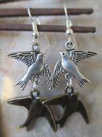 Bronze & Tibetan Silver Dove Love Birds on .925 Sterling Silver Ear Wires-Wicca