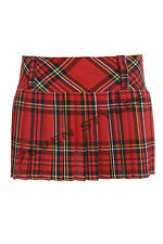 "LADIES SEXY 9"" 12"" INCH FULL PLEATED MICRO MINI HIPSTER TARTAN SKIRTS SHORT KILT"