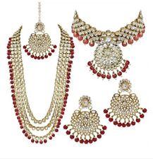 Ethnic Indian Bollywood Designer Bridal Gold Plated Kundan Jewelry Necklace Set