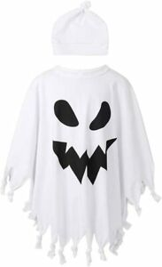 Kids Ghost Cape Costume Casper Halloween Childs Fancy Dress Outfit Boys Girls