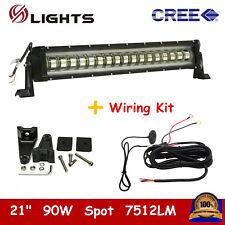 "21Inch 90W Strobe Flash LED Offroad Light Bar Spot White Truck+Wiring Kit PK 22"""