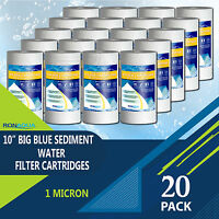"Big Blue Sediment Replacement Water Filters 20 PCS 1 Micron 10""x 4.5"" Cartridges"