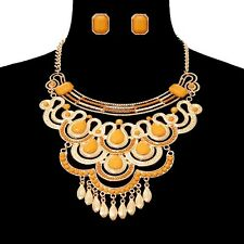 Chunky Gold Stone and Bead Drop Metal Statement Necklace Set