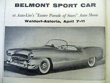 1954 NY Times newspaper w photo Chrysler PLYMOUTH BELMONT concept sports car