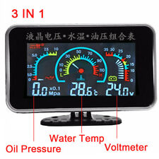 3 In 1 LCD Digital Volt Gauge Water Temp Gauge Oil Pressure Gauge 12-24V Vehicle
