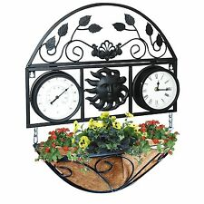 Outdoor Hanging Garden Wall Planter with Clock and Thermometer Plant Pot Flower!