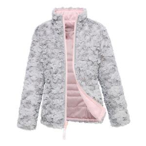 Rokka&Rolla Girls' Reversible Sherpa Fleece Puffer Jacket Winter Bubble Coat