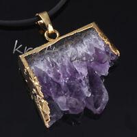 Gold Plated Natural Amethyst Quartz Cluster Druzy Crystal Random Pendant Jewelry
