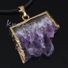Gold Plated Natural Amethyst Quartz Cluster Druzy Crystal Random Pendant Jewelry