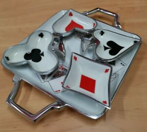 Aluminium Serving Tray With 4 Dip Bowls With Playing Card Symbols, Enamelled