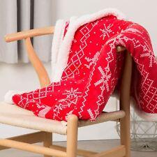 BERGEN CHRISTMAS THICK FLEECE NORDIC PRINT THROW BLANKET RED 130cm x 160cm