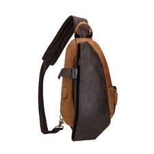 Real Leather USB Sling Chest Bag Men Shoulder Bag Sports Pouch Pack Backpack
