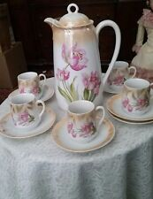 BAVARIA GERMANY CHOCOLATE / COFFEE SET, POT + 5 CUPS  & SAUCERS, PINK FLOWERS