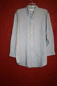 MARSHALL FIELD  MEN'S DRESS SHIRT BLUE COTTON BLEND SIZE 17 32/33