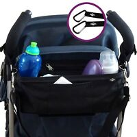 BTR Buggy Organiser Pushchair Pram Bag PLUS Pram Hooks & Cover & Shoulder Strap