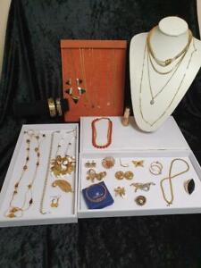 Deceased Estate Jewellery Gold Tone Inc Swarovski + Signed Barcs Korea 18K GP