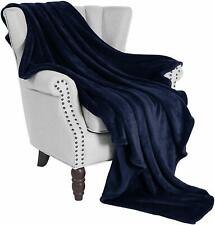 "Nice Plush Navy Blanket Large 50"" x 70"" Velvet Soft Warm Throw Fleece"