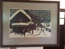 "Vintage 40's 50's Japanese artist KIYOSHI SAITO ""Aizu Skiers"" Woodblock PRINT"
