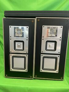 SONY APM-250 Audiophile SPEAKERS 3-way SQUARE Drivers w/ OEM Metal Stands RARE🔥