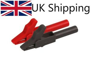 Crocodile clip, 15A, 4mm Banana plug connection, black and red, connector, Test