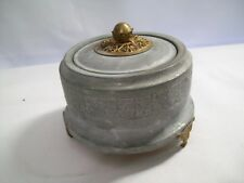 Vintage Round Pewter Trinket Music Box Dancers Design with Brass Accents