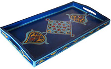 Handmade Moroccan Wood Tray Serving Painted Decorative With Handle For Tea in