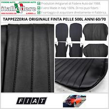 TAPPEZZERIA ORIGINALE Finta Pelle su Misura! Fiat 500L '60/'70 SET COMPLETO NERO