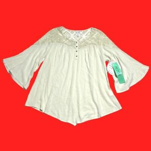 NAIF ... Ivory  Lace  Peasant  Top ... Petite  Size  L ... NEW