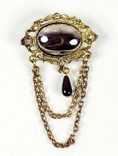 2 × Vintage Gold Filigree Metal Brooch with Silver Stone Center, Chain Drop