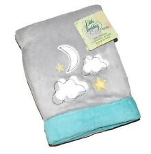 Nojo Little Bedding Velboa Baby Blanket Twinkle Twinkle Grey Clouds Moon Stars