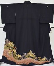 @Japanese Vintage Kimono / silk / Tomesode 61.2inc./ Black 3nfuji31331