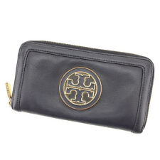 Tory Burch Wallet Purse Long Wallet Black Gold Woman Authentic Used T1760